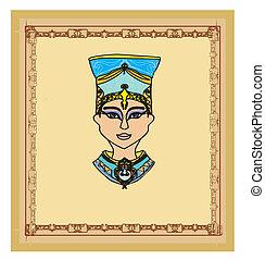 vieux, papier, à, égyptien, reine, cleopatra