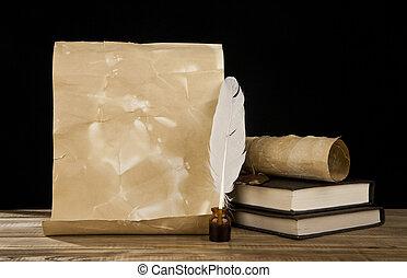 vieux, papier, livres, et, plume