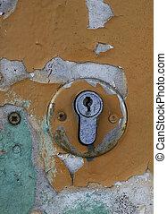 vieux, partie, porte, keyhole.