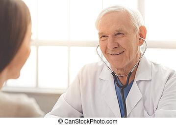 vieux, patient, docteur