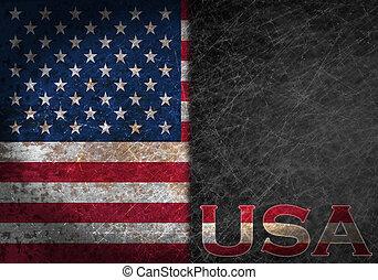 vieux, pays, métal, rouillé, signe, abréviation, drapeau