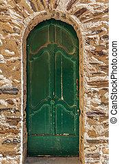 vieux, peint, couleur, bois, porte verte