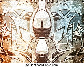 vieux, peint, formes, béton, géométrique, vandalisme, mur