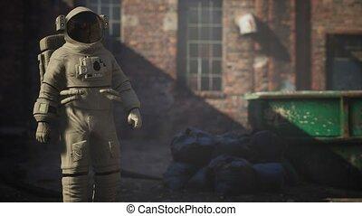 vieux, perdu, industriel, usine, abandonnés, bâtiments, astronaute