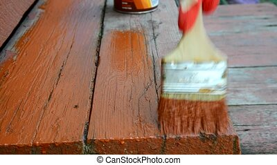 vieux, personne, peintures, peinture, escalier, rouges
