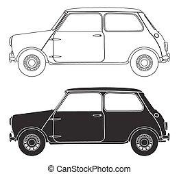 vieux, petite voiture, grands traits