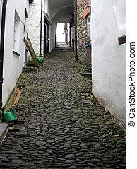 vieux, petites maisons, galet, sentier