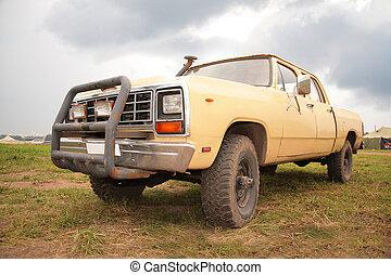vieux, pick-up, jaune