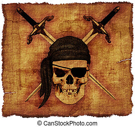 vieux, pirate, crâne, parchemin