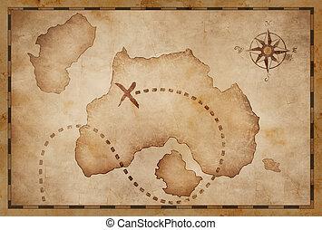 vieux, pirates, trésor, vendange, carte