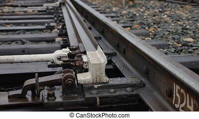 vieux, piste, rails, manière, dehors, chemin fer,...