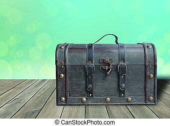 vieux, plancher, cuir, vendange, bagage, bois, grunge