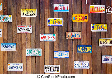 vieux, plaques, collection, licence, vendange