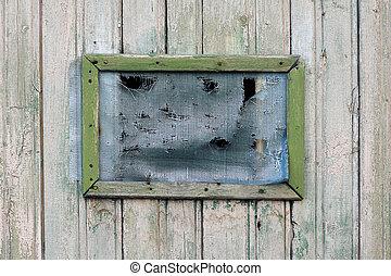 vieux, plus vieux, bois, fenêtre, grille, vert, trou
