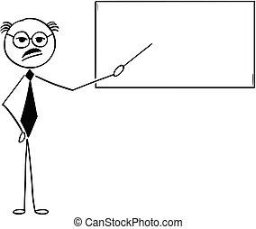 vieux, pointage, business, prof, illustration, prof, dessin animé, signe, ou, vide, homme