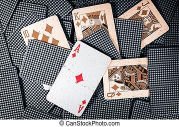 vieux, poker, éclat royal
