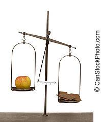 vieux, pomme, balances, projection, isolé, chocolat, fond,...