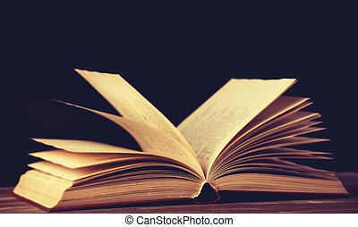 vieux, pont bois, tabletop, livres, vendange