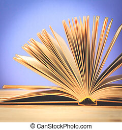 vieux, pont, bois, vendange, livres, table