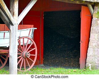vieux, porte, grange