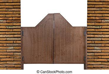 vieux, portes, bois, occidental, oscillation, bar