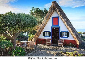 vieux, portugal, île, santana, maisons, madère, typique