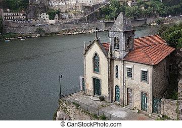 vieux, portugal, porto, église, douro, rivière