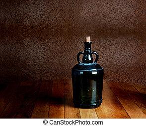 vieux, poussiéreux, vendange, bois, bouteille, table