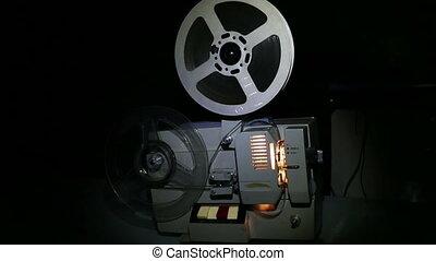 vieux, projecteur, projection, -, chariot, coup, pellicule