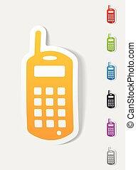 vieux, réaliste, téléphone portable, conception, element.