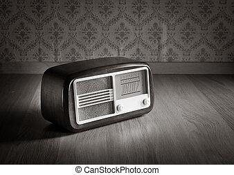 vieux, radio, façonné