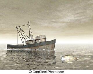 vieux, render, -, bateau pêche, 3d