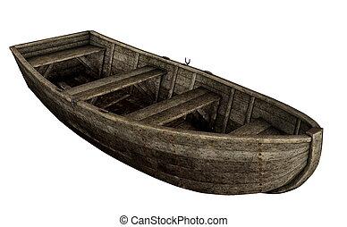 vieux, render, bois, -, bateau, 3d