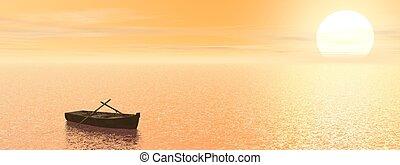 vieux, render, -, bois, coucher soleil, bateau, 3d