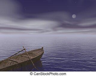 vieux, render, -, bois, nuit, bateau, 3d
