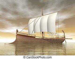 vieux, render, -, grec, bateau, 3d
