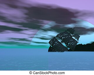 vieux, render, naufrage, -, bateau, 3d