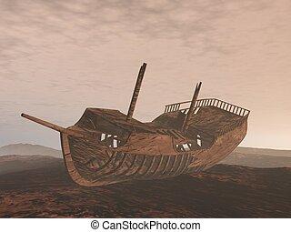 vieux, render, naufrage, -, sable, bateau, 3d