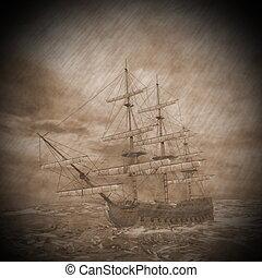 vieux, render, -, orage, bateau, 3d