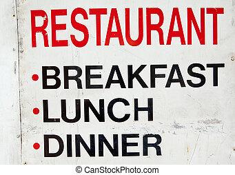 vieux, restaurant, signe, métal, déjeuner, sale, grungy, petit déjeuner