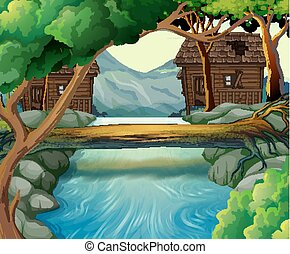 vieux, rivière, huttes