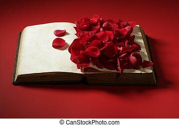 vieux, rose, sur, pétales, livre, vieilli