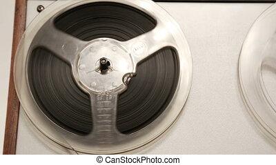 vieux, -, rotation, bande, chariot, coup, enregistreur, bobine, bobines
