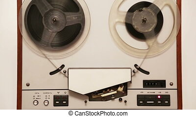 vieux, rotation, magnétophone, bobine, bobines