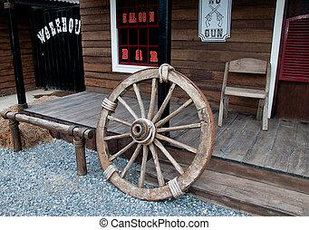 vieux, roue, bois