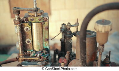 vieux, rouillé, envoyer à la casse, mécanisme, usine, gears., défectueux, beaucoup