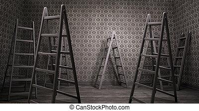 vieux, rouillé, intérieur, à, beaucoup, échelles