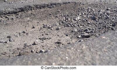 vieux, route, nids poule, asphalte