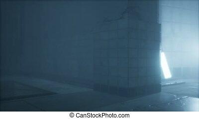 vieux, rue, nuit, pluvieux, brouillard, ville