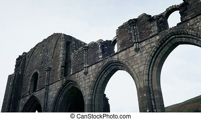 vieux, ruines, travers, abbaye, moule
